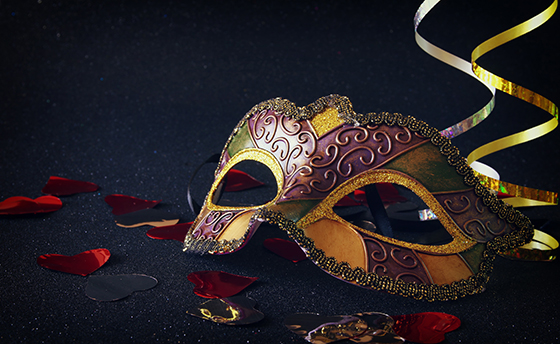 elegant venetian, mardi gras mask on glitter background