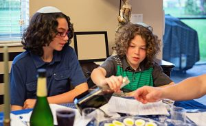 Children participating at a Passover seder