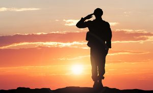 Soldier Saluting During Sunset