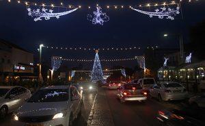 Christmas lights decorations in Haifa, Israel