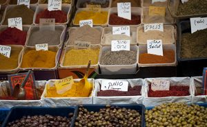 Mixed spices and olives.