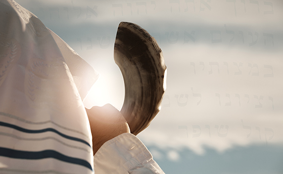 Jewish man blowing the Shofar