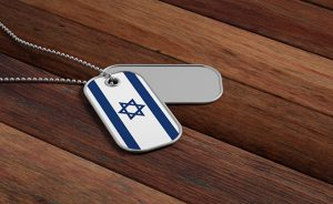 Israel army concept, Israel flag identification tags on wooden background. 3d illustration